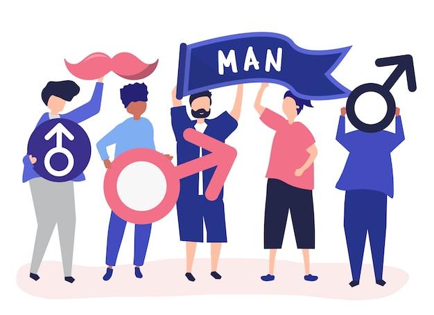 Personajes de hombres sosteniendo íconos masculinos.