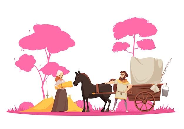 Personajes humanos y antiguo caballo de transporte terrestre rural con carro en árboles de dibujos animados de fondo