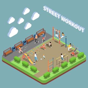 Personajes humanos y área de entrenamiento callejero con composición isométrica de terreno de juego en turquesa
