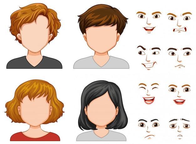 Personajes humanos con caras diferentes.