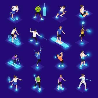 Personajes humanos en gafas vr durante varios iconos isométricos de actividad deportiva en azul