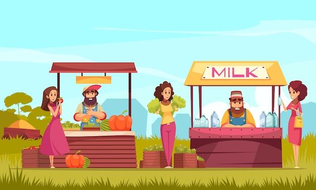 Personajes humanos y productos de jardinería en los mostradores del mercado agrícola en dibujos animados de fondo de cielo azul