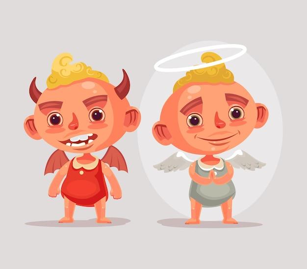 Personajes infantiles ángel y diablo. dibujos animados