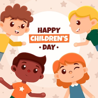 Personajes infantiles hermosos día mundial del niño