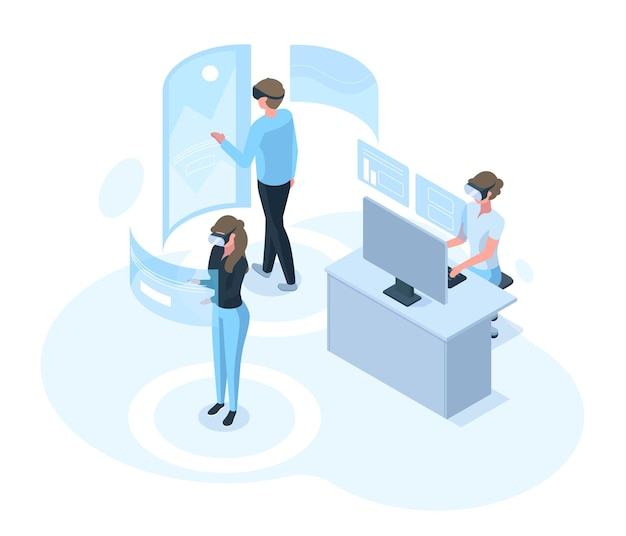 Personajes isométricos en el mundo de simulación de realidad virtual futurista. personas con ilustración de vector digital de realidad virtual. concepto de actividades del mundo de vr