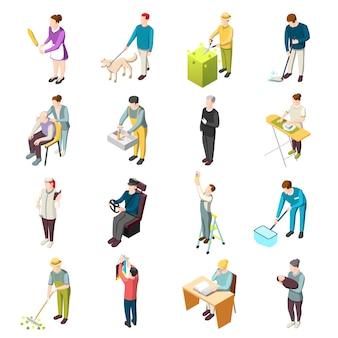 Personajes isométricos de sirvienta doméstica