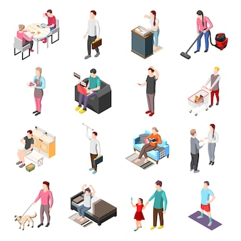 Personajes isométricos de la vida de la gente común