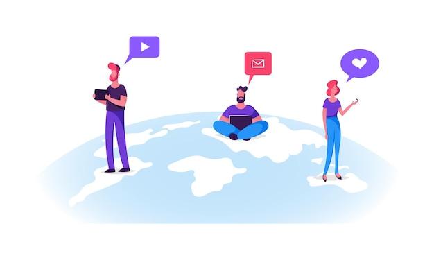 Los personajes jóvenes se colocan en la superficie del globo terráqueo con dispositivos móviles