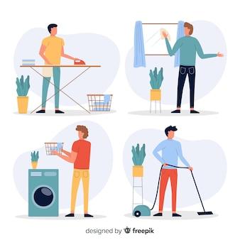 Personajes jóvenes haciendo tareas domésticas