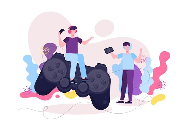 Personajes de jugador y concepto de juego en línea