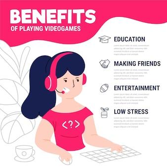 Personajes jugando videojuegos beneficios infografía