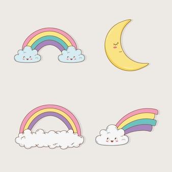 Personajes kawaii del arco iris y la luna