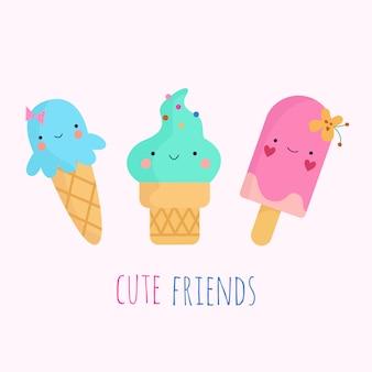 Personajes kawaii de helado plano