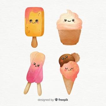 Personajes de kawaii de helado