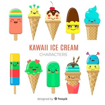 Personajes kawaii de helado