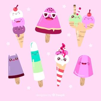 Personajes kawaii de helados