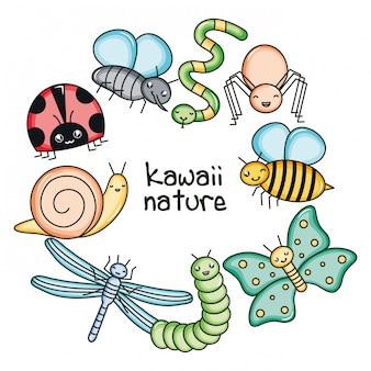 Personajes kawaii lindos y pequeños animales de jardín