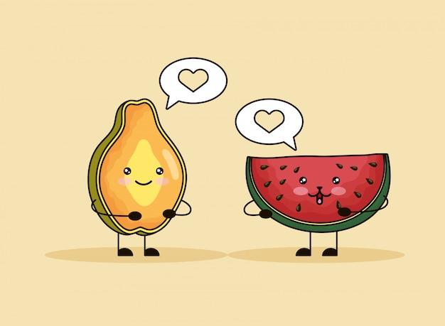 Personajes kawaii de papaya y sandía fresca