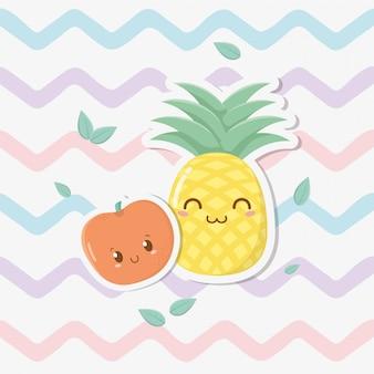 Personajes kawaii de piña fresca y manzana