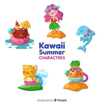 Personajes kawaii de verano