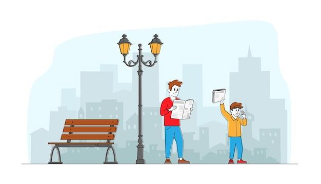 Personajes leyendo y vendiendo periódicos. carácter de empresario leer noticias caminando en el trabajo. sales boy ofreciendo publicación en la calle. prensa social media information linear people