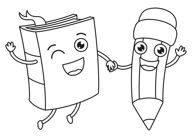 Personajes de libro y lápiz tomados de la mano, dibujo de arte lineal para niños, página para colorear