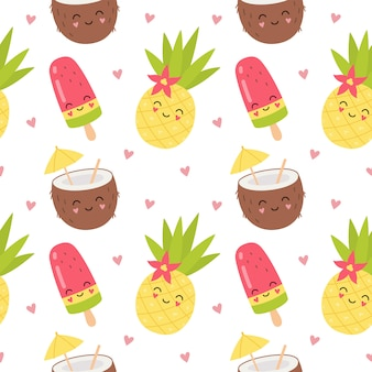 Personajes lindos cóctel de coco, piña, hielo de frutas. patrón sin fisuras de dibujos animados de verano