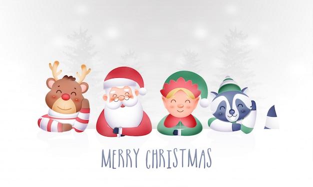 Personajes lindos de navidad de dibujos animados