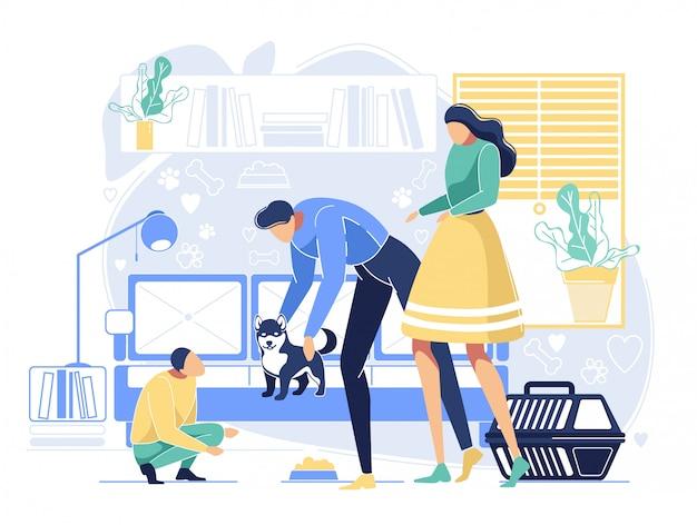 Personajes de madre y padre presentan cachorro a hijo