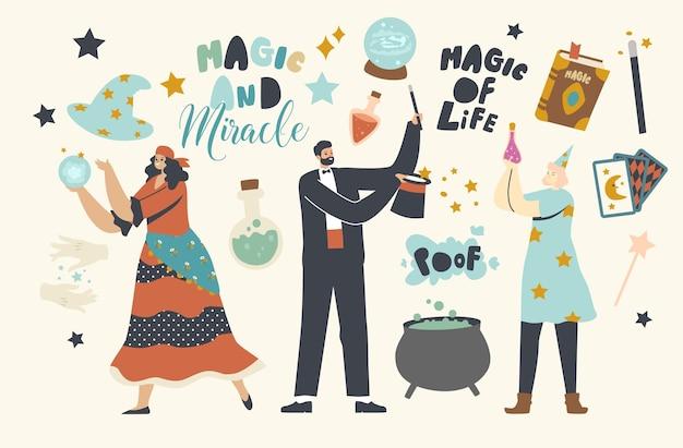 Personajes de mago de circo realizando trucos con sombrero de copa, bola de cristal y caldero. los animadores, los grandes ilusionistas realizan un espectáculo de magia, un evento de diversión de carnaval. ilustración de vector de gente de dibujos animados