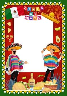 Personajes de mariachi del cinco de mayo con letrero y comida mexicana.