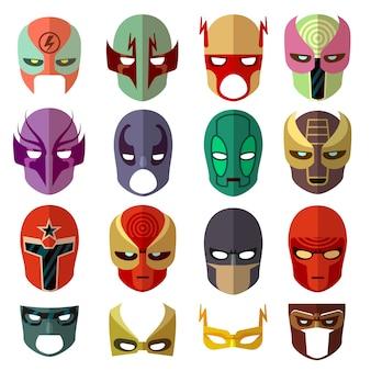 Personajes de máscara de héroe vector iconos planos