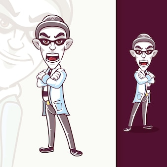 Personajes de mascota ladrón de pie gritando