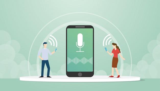 Los personajes masculinos y femeninos aprovechan la tecnología de las funciones de control por voz en el diseño de estilo plano de los teléfonos inteligentes.