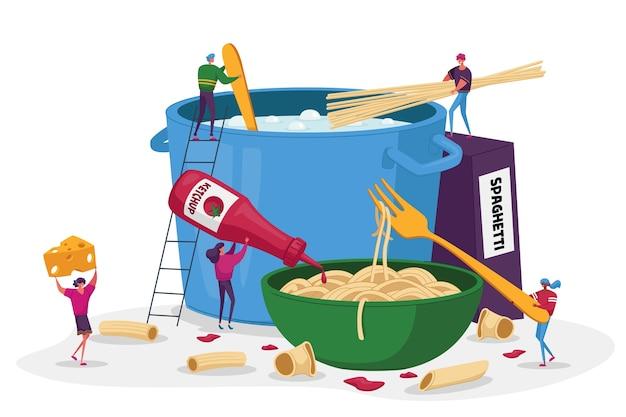 Personajes masculinos y femeninos cocinando pasta ponen espaguetis y macarrones en la sartén