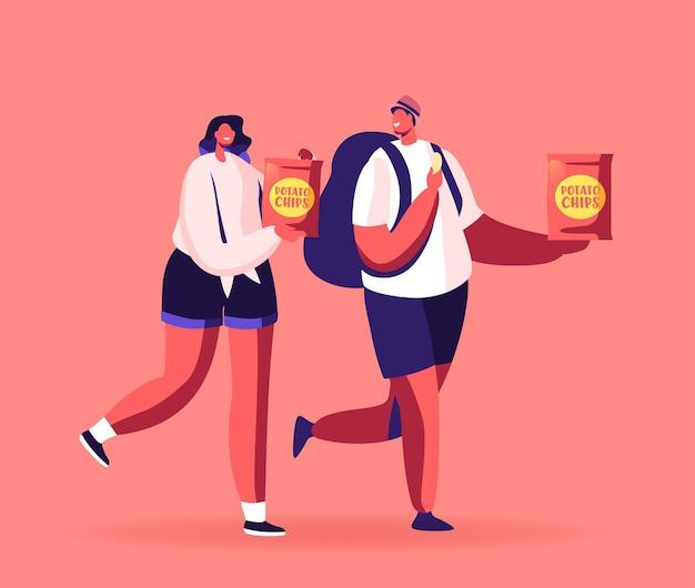 Personajes masculinos y femeninos comiendo papas fritas en paquete