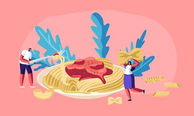 Personajes masculinos y femeninos comiendo pasta de espagueti con salsa sabrosa de plato enorme, con macarrones secos de varios tipos alrededor. cocina italiana, menú de comida saludable