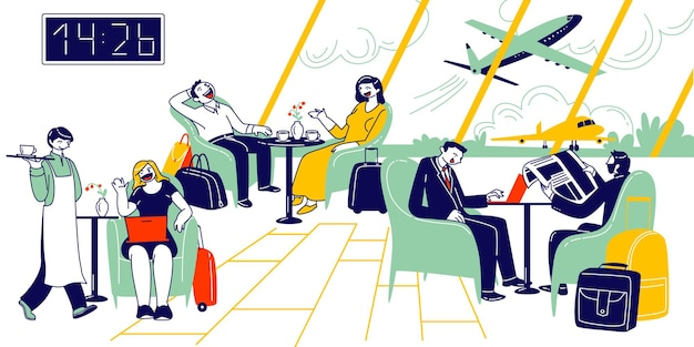 Personajes masculinos y femeninos esperando la salida del avión en el salón de negocios del aeropuerto.