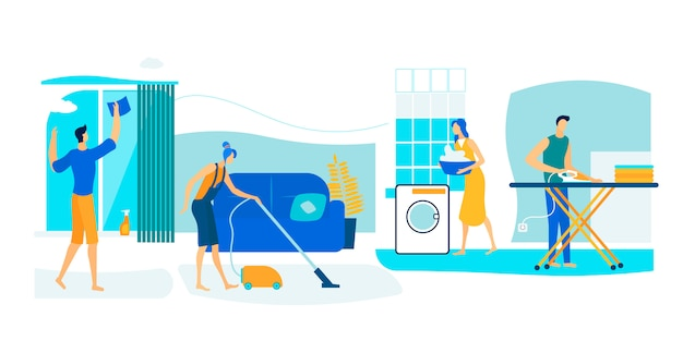 Personajes masculinos y femeninos limpian el hogar en fin de semana.