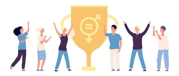 Personajes masculinos y femeninos planos felices y copa ganadora