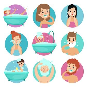 Personajes masculinos y femeninos que realizan procedimientos de baño, higiene personal matutina ilustración
