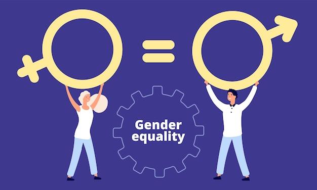 Personajes masculinos y femeninos con signo sexual.