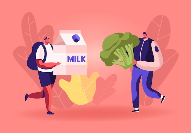 Los personajes masculinos llevan una enorme caja de leche y brócoli para recoger la caja de donaciones. ilustración plana de dibujos animados