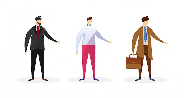 Personajes masculinos sin rostro de diferentes profesiones.