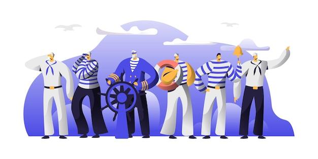 Personajes masculinos de la tripulación del barco en uniforme. ilustración plana de dibujos animados