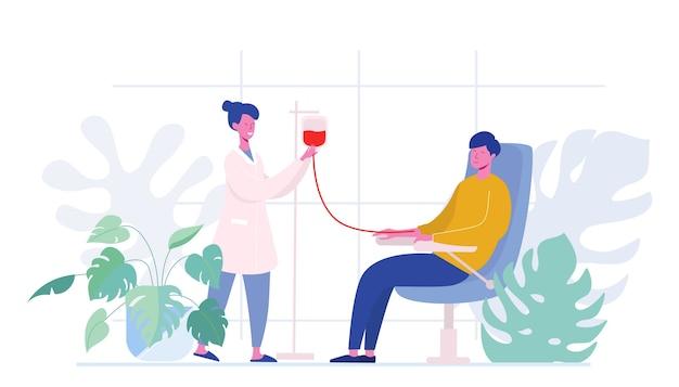Personajes masculinos voluntarios sentados en sillas de hospital médico donando sangre. doctor woman nurse take in probeta, donación, día mundial del donante de sangre, cuidado de la salud. plano de dibujos animados