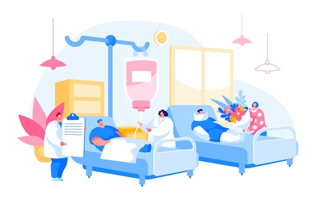 Personajes de médico y enfermera que visitan al paciente en la cámara. medicina cuidado de la salud