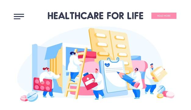 Personajes de médico farmacéutico con enormes pastilleros y medicamentos
