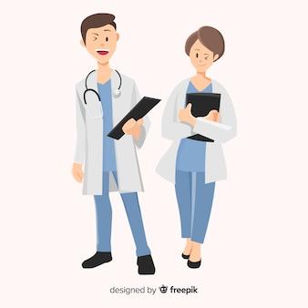 Personajes de médicos en diseño plano