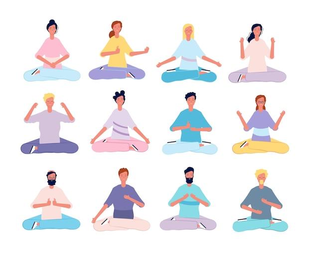 Personajes de meditación. posturas de yoga para hombres y mujeres sentados en personas planas de clase de pilates